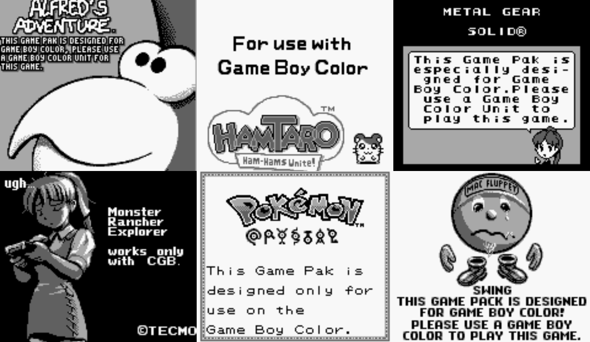 Modojo | Check Out This Archive of Game Boy Color Compatibility Warning Screens